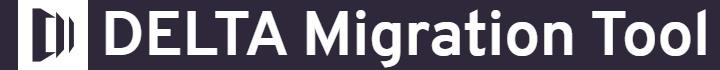 Delta migration tool text logo