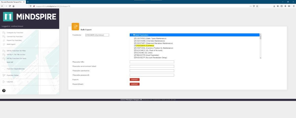 Oracle FLEXCUBE Parameter Transport Tool tömeges export funkció