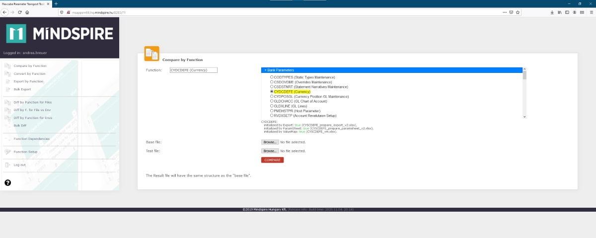 Oracle FLEXCUBE Parameter Transport Tool összehasonlítás funkció