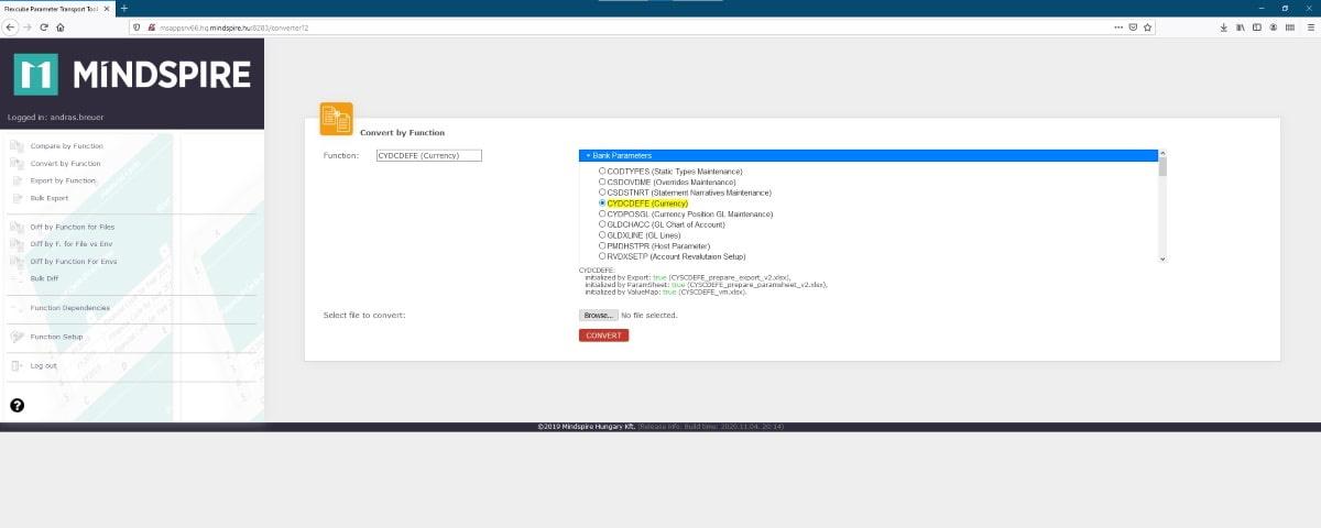 Oracle FLEXCUBE Parameter Transport Tool konvertálás funkció